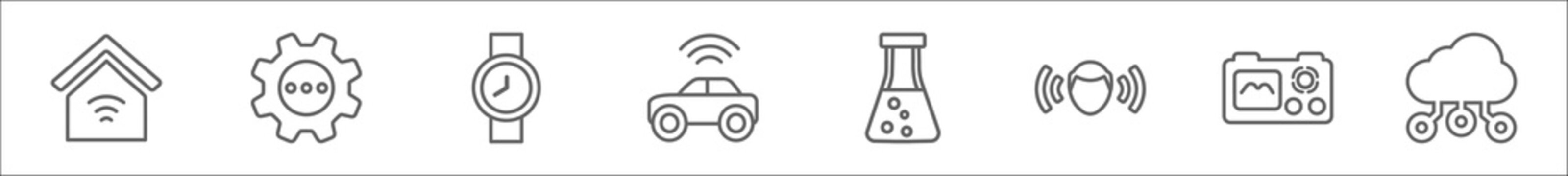 outline set of artificial intellegence line icons. linear vector icons such as smart home, processing, wristwatch, driverless autonomous car, science, immersive, nano sensor, cloud intelligence