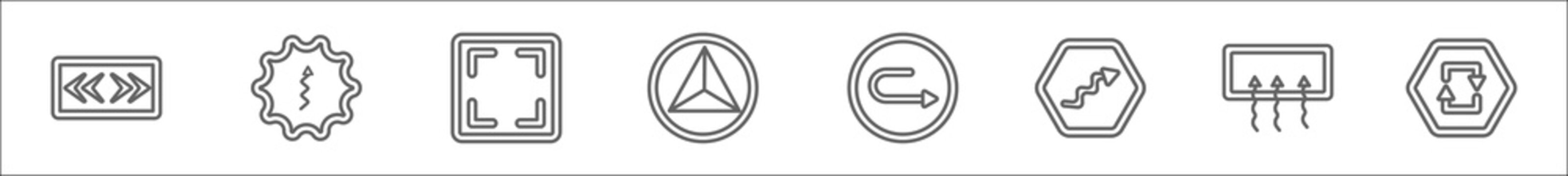 outline set of user interface line icons. linear vector icons such as two arrows pointing right and left, up arrow with scribble, size, triangular, rotated right arrow, squiggly arrow, rear window