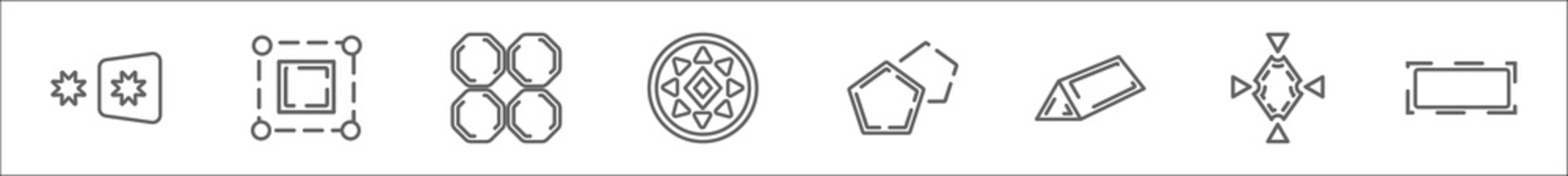 outline set of geometry line icons. linear vector icons such as reflection, bounding box, tile, sri yantra, polygon, prism, synergy, rectangle