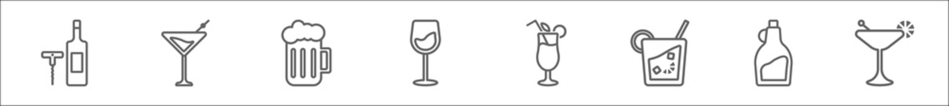 outline set of drinks line icons. linear vector icons such as corkscrews and bottle of wine, martini, pint of beer, wine, tropical itch, caipirinha, tuba, martinez