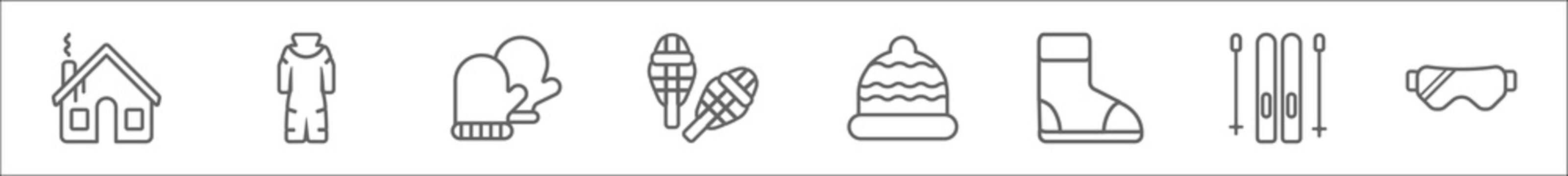 outline set of winter line icons. linear vector icons such as winter cabin, snowsuit, mittens, snowshoes, winter cap, boots, ski equiptment, snow goggle