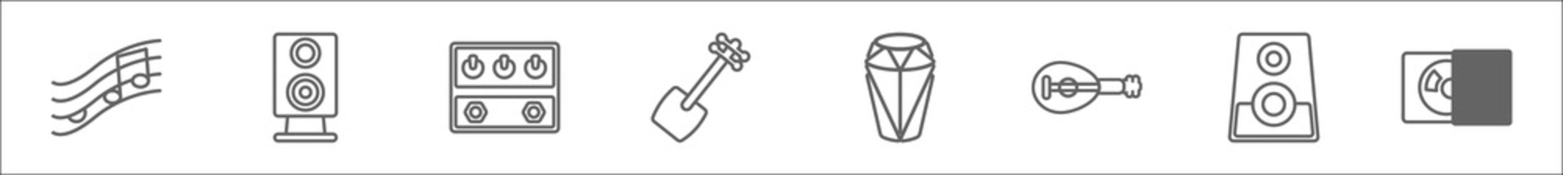 outline set of music line icons. linear vector icons such as pentagram, vintage loudspeaker, guitar pedal, shamisen, old drum, lute, subwoofer speaker, cd writer