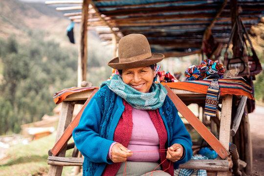 Portrait of traditional peruvian woman