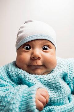Portrait of surprised baby