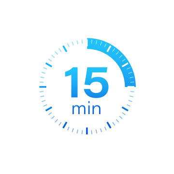 The 15 minutes, stopwatch vector icon. Stopwatch icon in flat style on a white background. Vector stock illustration.