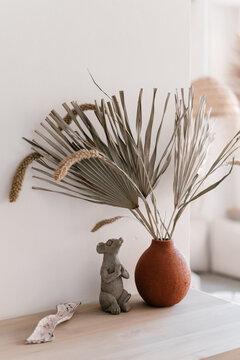 Decorations on shelf in yoga studio