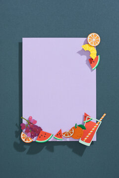 Summer frame with fruits. Pineapple, watermelon, orange and monstera leaves.