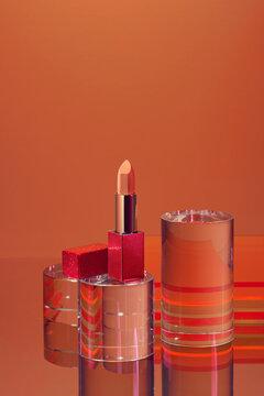 Coral lipstick.