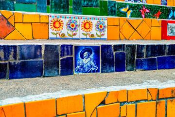 Wall Murals Graffiti collage A section of Selarons Stairs (Escaleras de Selaron) in Rio de Janeiro