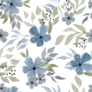 watercolor blue floral seamless pattern