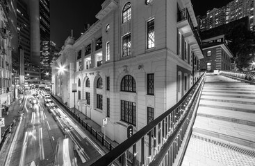 Fototapete - Traffic in old street of central district of Hong Kong city at night