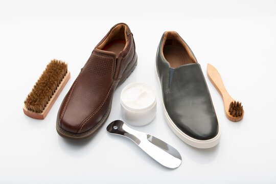 Shoe Polishing Cream And Brushes