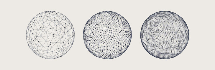 Fototapeta Sphere with connected lines and dots. Wireframe illustration. Abstract 3d grid design. Technology style. obraz