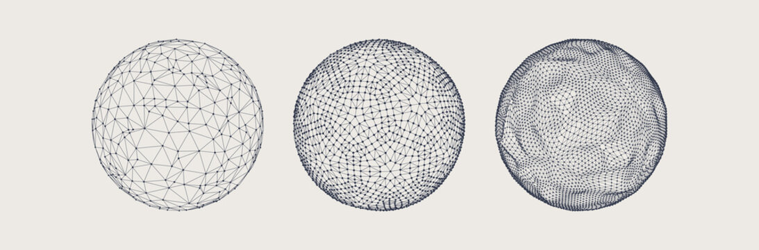 Sphere with connected lines and dots. Wireframe illustration. Abstract 3d grid design. Technology style.