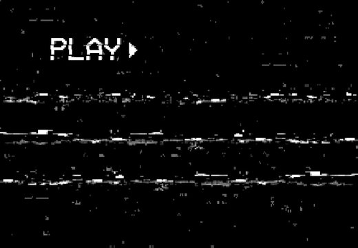 Corrupted play screen with glitch vector effect