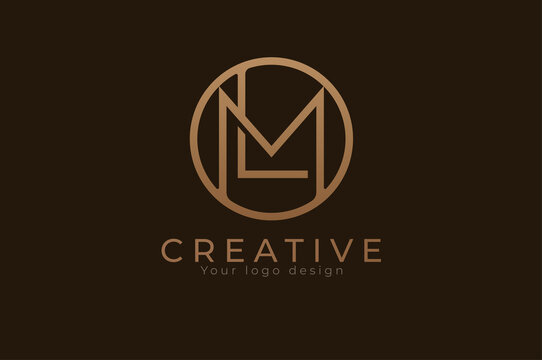 Abstract initial letter L and M logo,usable for branding and business logos, Flat Logo Design Template, vector illustration