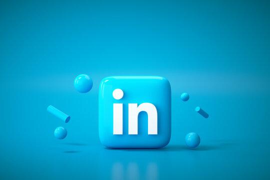 3D Linkedin application logo background. Linkedin social media platform.