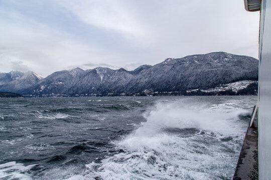 Rough sailing on Bowen Island ferry on Howe Sound, BC Canada