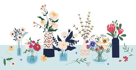 Fototapeta Beautiful bouquets of cut meadow and garden flowers in ceramic and glass vases standing on the table. Elegant bunches of wildflowers in florist shop. Vector illustration in flat cartoon style