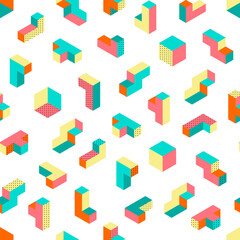 Dimension memphis isometric retro puzzle figures colorful vector game blocks seamless vector pattern