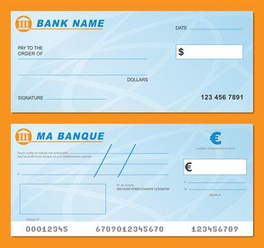 Vector blank bank check illustration