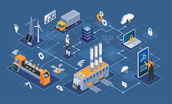 Smart industry 4.0 Industrial internet of things, innovative manufacturing and smart industry. Automation and user interface, connecting with tablet and exchanging data with cyber physical iot system