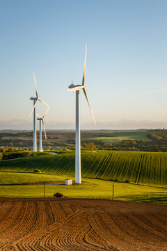 Wind turbines in the countryside of southern France near Toulouse