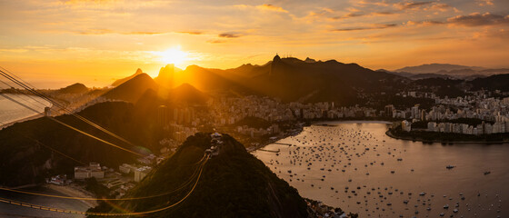 Beautiful panorama of Rio de Janeiro at sunset, Brazil. Sugarloaf Mountain