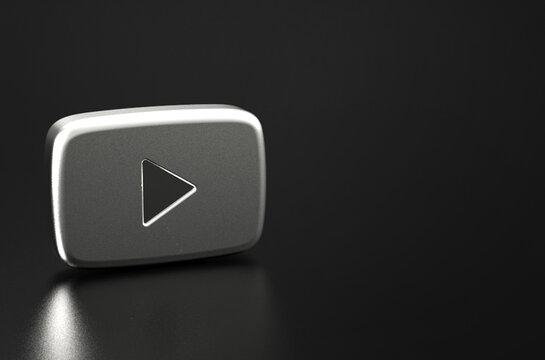 Silver youtube logo 3d rendering illustration