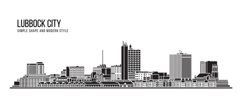 Cityscape Building Abstract Simple shape and modern style art Vector design -  Lubbock city