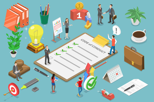 3D Isometric Flat Vector Conceptual Illustration of Code of Conduct, Business Ethics, Statement of Ethical Values.