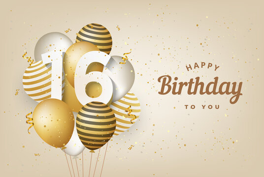 Happy 16th birthday with gold balloons greeting card background. 16 years anniversary. 16th celebrating with confetti. Vector stock
