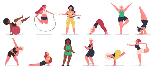 Body positive fitness. Plus size girls do yoga, work out training and stretching. Active plus size women healthy vector illustration set. Body fitness, plus size overweight, lady diversity pose Wall mural