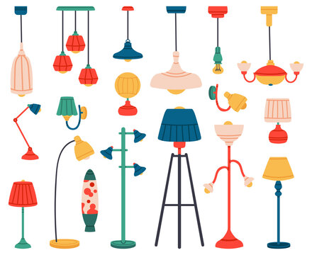 Home light. Interior lamps, ceiling lamps, pendant, reading lamp, spotlight and floor lamp. Indoor lighting vector illustration set. Electric lamp home, indoor chandelier contemporary