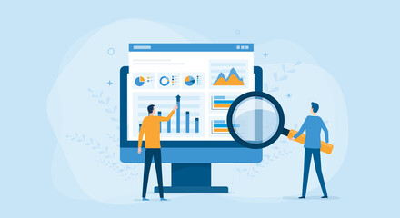 flat vector business people working for data analytics and monitoring on web report dashboard monitor and business finance investment concept - fototapety na wymiar