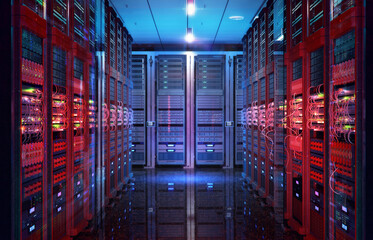 Fototapeta Data center with server racks, IT working server room with rows of supercomputers. 3D concept illustration of information technology, cyber network, hosting, data backup, render farm, storage cloud obraz