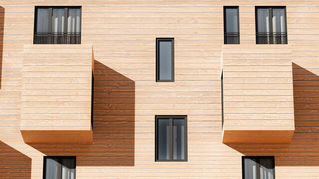 Facade Of A Modern Contemporary Wood Sided Building