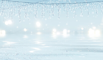 Blurry city lights are reflected on the ice. Shining Christmas. Blurry lights, bokeh. New Year's garland on the city street. 3d illustration