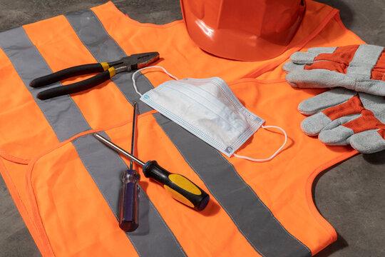 Detail of a construction site uniform