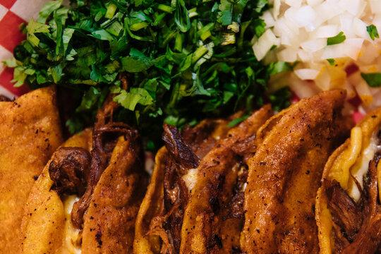 Close up birria tacos