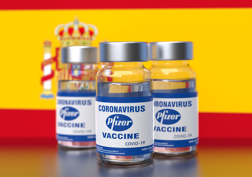 Spain - DEC, 15, 2020: Pfizer BioNTech Covid-19 vaccine approved for use in the Spain