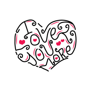 Hand drawn lettering typography i love you more design