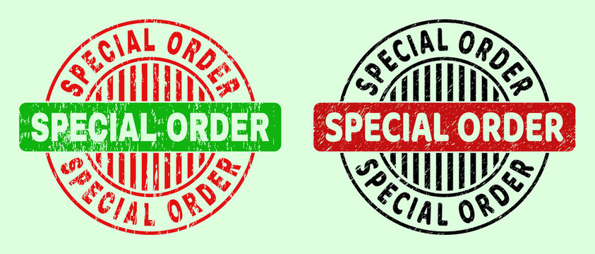 SPECIAL ORDER bicolor round imprints with unclean texture. Flat vector grunge seal stamps using SPECIAL ORDER message inside round shape, in red, black, green colors. Round bicolor seal stamps.