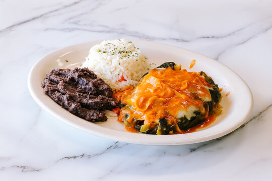 Mexcian food beef with rice and beans