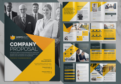 Company Proposal Brochure Layout with Yellow Accents