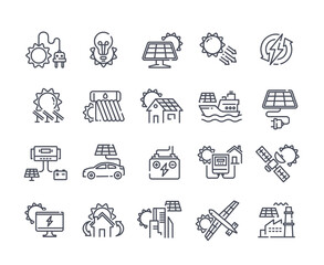 Obraz Solar panel outline icon set. Sun power photovoltaic PV home system and renewable electric energy technology editable stroke line signs house, cell, battery, vehicle, aircraft and spacecraft, ship - fototapety do salonu
