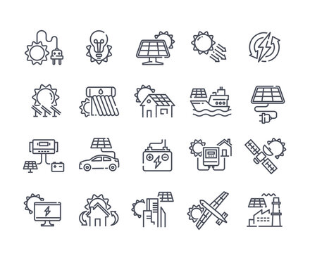 Solar panel outline icon set. Sun power photovoltaic PV home system and renewable electric energy technology editable stroke line signs house, cell, battery, vehicle, aircraft and spacecraft, ship