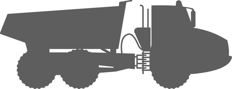 Articulated Dump Truck (ADT) - Articulated hauler - dump hauler - 6x6 - shape - silhouette - monochrome - icon  - large heavy duty type of dump truck