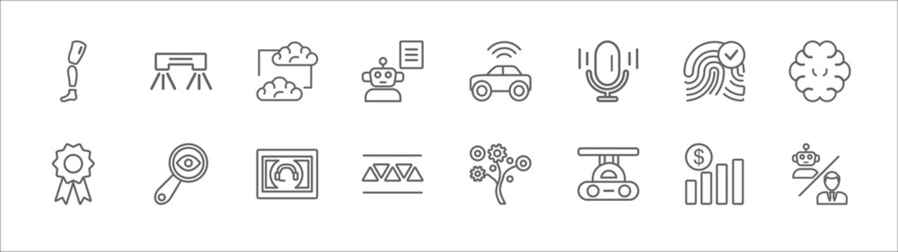 outline set of artificial intellegence line icons. linear vector icons such as flyboard, mind transfer, driverless autonomous car, biometrics, brain, recognition, detection, personal assistant, high