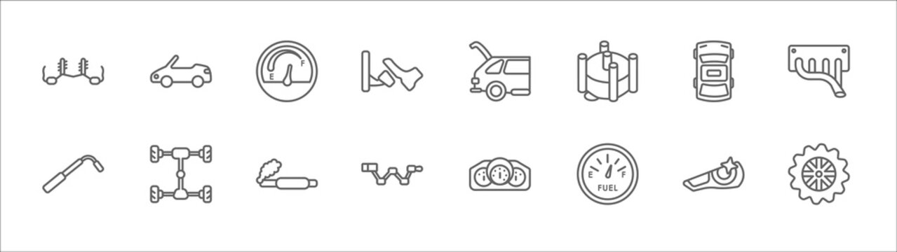 outline set of car parts line icons. linear vector icons such as car soft top, car petrol gauge, boot, roof, manifold, wheel brace, axle, tailpipe, crank, fuel gauge, sprocket